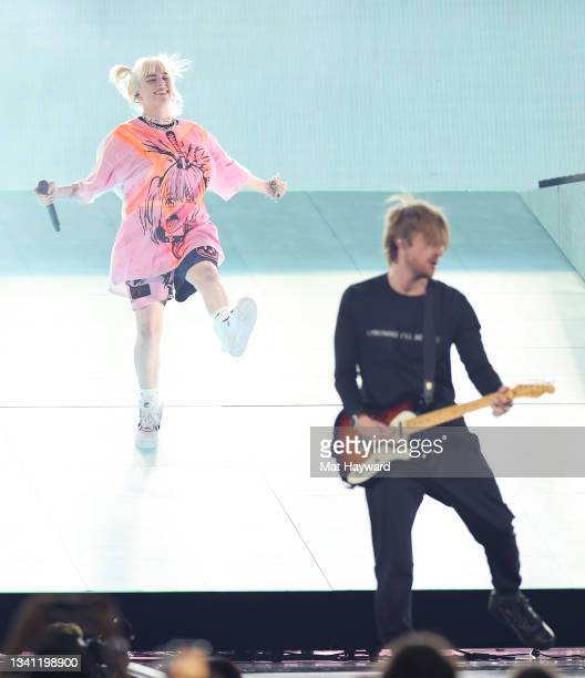 Billie Eilish and her Brother FINNEAS perform during the 2021 iHeartRadio Music Festival at T-Mobile Arena on September 18, 2021 in Las Vegas, Nevada.