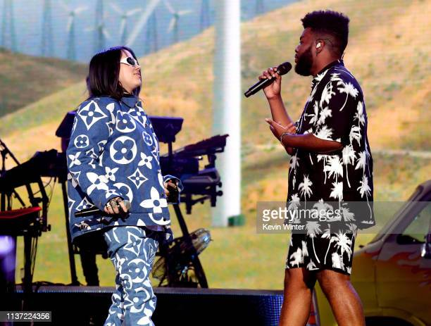 Billie Eilish and Khalid perform on Coachella Stage during the 2019 Coachella Valley Music And Arts Festival on April 14 2019 in Indio California