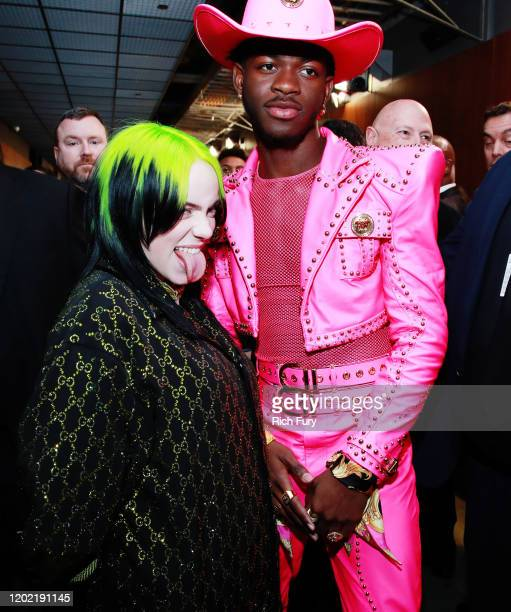 Billie Eilish and Lil Nas X attend the 62nd Annual GRAMMY Awards at STAPLES Center on January 26 2020 in Los Angeles California