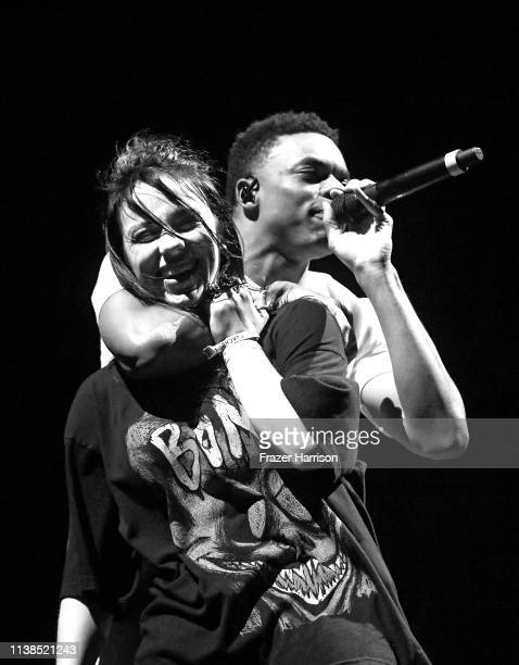 Billie Eilish and Vince Staples perform at Outdoor Theatre during the 2019 Coachella Valley Music And Arts Festival on April 20 2019 in Indio...