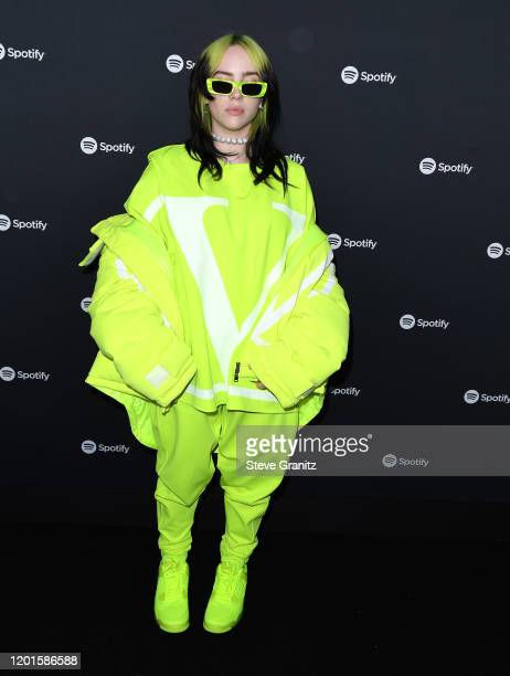 Billie Eilish arrives at the Spotify Best New Artist 2020 Party at The Lot Studios on January 23, 2020 in Los Angeles, California.