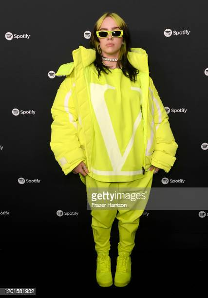 Billie Eilish attends Spotify Hosts Best New Artist Party at The Lot Studios on January 23 2020 in Los Angeles California