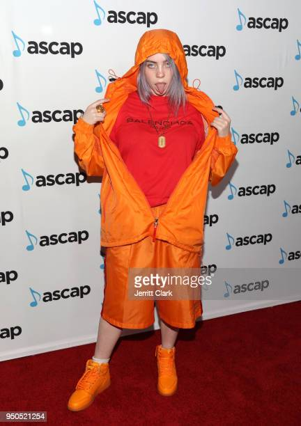 Billie Eilish attends the 2018 ASCAP Pop Music Awards at The Beverly Hilton Hotel on April 23 2018 in Beverly Hills California