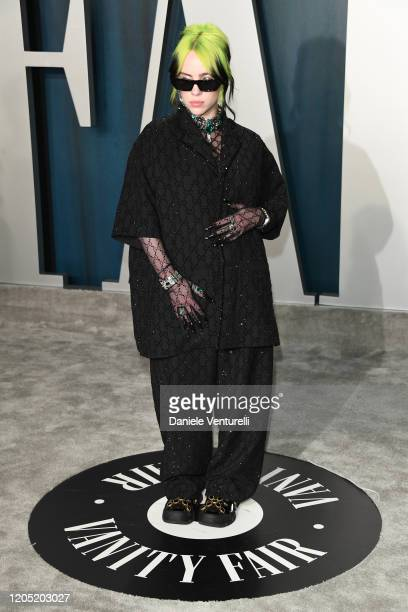 Billie Eilish attends the 2020 Vanity Fair Oscar party hosted by Radhika Jones at Wallis Annenberg Center for the Performing Arts on February 09 2020...