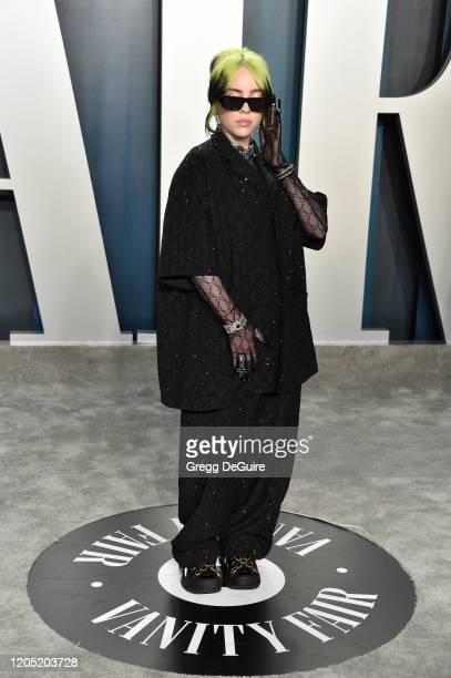 Billie Eilish attends the 2020 Vanity Fair Oscar Party hosted by Radhika Jones at Wallis Annenberg Center for the Performing Arts on February 09,...