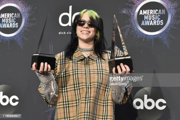 Billie Eilish attends the 47th Annual American Music Awards® Press Room at Microsoft Theater on November 24 2019 in Los Angeles California