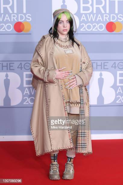 Billie Eilish attends The BRIT Awards 2020 at The O2 Arena on February 18, 2020 in London, England.