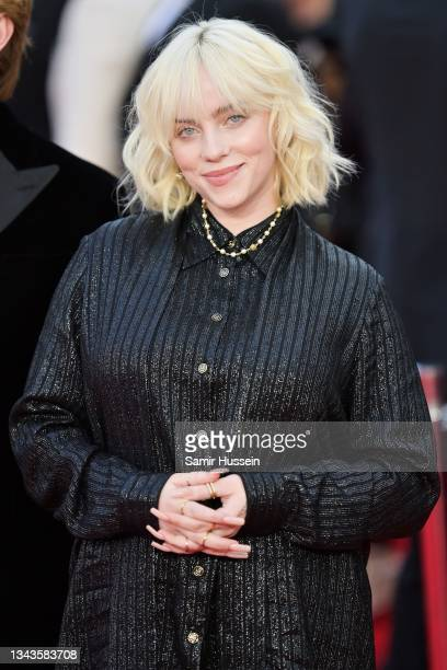 """Billie Eilish attends the """"No Time To Die"""" World Premiere at Royal Albert Hall on September 28, 2021 in London, England."""