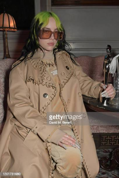 Billie Eilish attends the Universal Music BRIT Awards after-party 2020 hosted by Soho House & PATRON at The Ned on February 18, 2020 in London,...