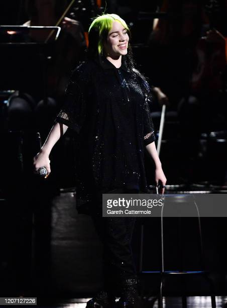 Billie Eilish during The BRIT Awards 2020 at The O2 Arena on February 18 2020 in London England
