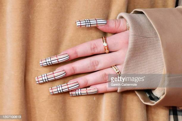 Billie Eilish fashion detail attends The BRIT Awards 2020 at The O2 Arena on February 18 2020 in London England