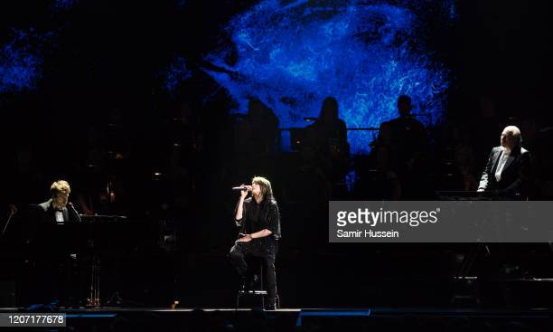 Billie Eilish Finneas O'Connell and Hans Zimmer perform during The BRIT Awards 2020 at The O2 Arena on February 18 2020 in London England