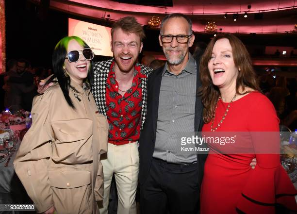 Billie Eilish, Finneas O'Connell, Patrick O'Connell and Maggie Baird attend Billboard Women In Music 2019, presented by YouTube Music, on December...