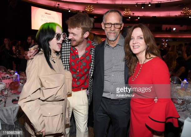 Billie Eilish Finneas O'Connell Patrick O'Connell and Maggie Baird attend Billboard Women In Music 2019 presented by YouTube Music on December 12...