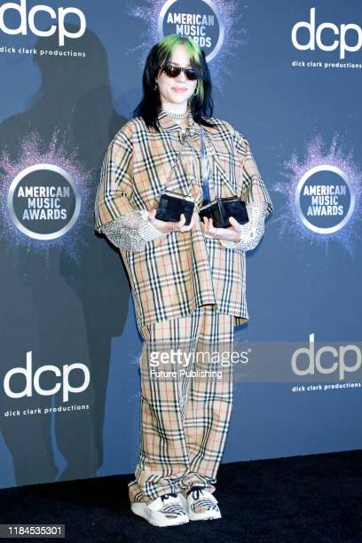 STATES NOVEMBER 24 2019 Billie Eilish in the press room at the 2019 American Music Awards at Microsoft Theater PHOTOGRAPH BY P Lehman / Barcroft Media