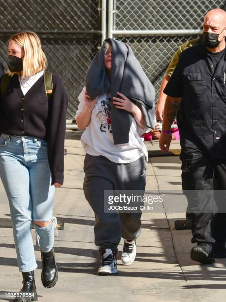 Billie Eilish is seen arriving at 'Jimmy Kimmel Live' on October 13, 2021 in Los Angeles, California.