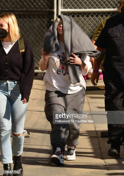 Billie Eilish is seen at 'Jimmy Kimmel Live!' on October 13, 2021 in Los Angeles, California.