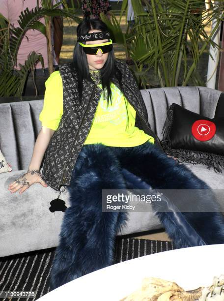 Billie Eilish is seen at the YouTube Music Artist Lounge at Coachella 2019 on April 13 2019 in Indio California