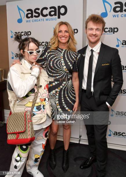 Billie Eilish Julia Roberts and Finneas O'Connell attend the ASCAP 2019 Pop Music Awards at The Beverly Hilton Hotel on May 16 2019 in Beverly Hills...