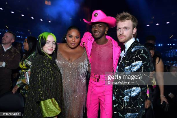 Billie Eilish Lizzo Lil Nas X and Finneas O'Connell attend the 62nd Annual GRAMMY Awards at STAPLES Center on January 26 2020 in Los Angeles...