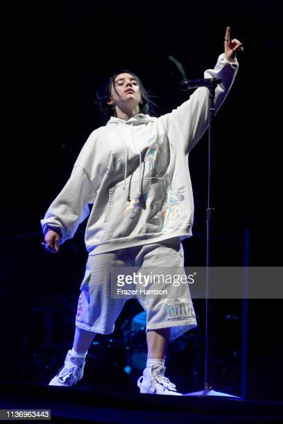 Billie Eilish performs at Outdoor Theatre during the 2019 Coachella Valley Music And Arts Festival on April 13 2019 in Indio California