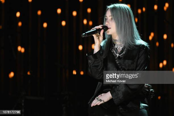 Billie Eilish performs at the Sean Penn CORE Gala benefiting the organization formerly known as J/P HRO its lifesaving work across Haiti the world at...