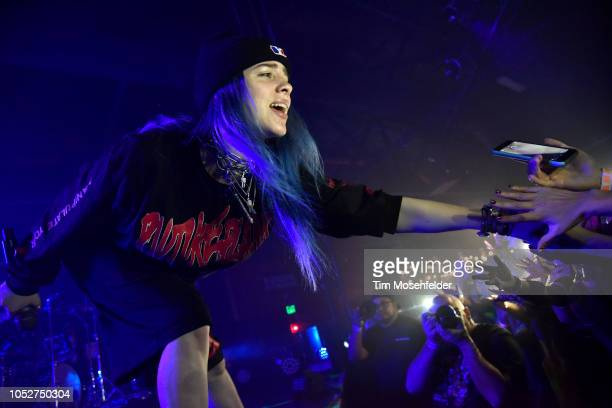 Billie Eilish performs during her 1 By 1 tour at Ace of Spades on October 21 2018 in Sacramento California
