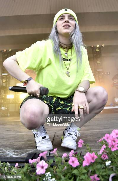 Billie Eilish performs during Lollapalooza 2018 at Grant Park on August 2 2018 in Chicago Illinois