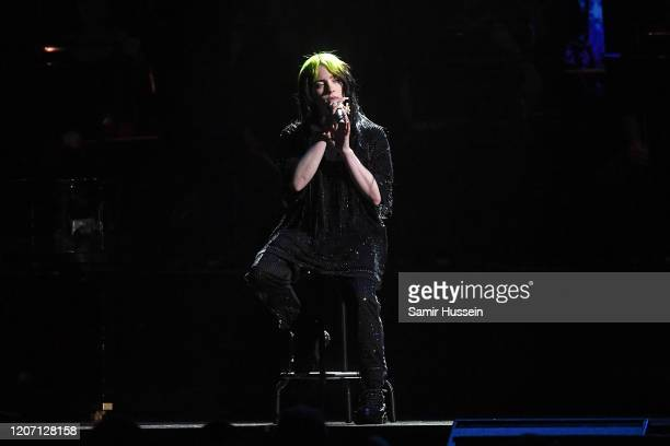 Billie Eilish performs during The BRIT Awards 2020 at The O2 Arena on February 18 2020 in London England