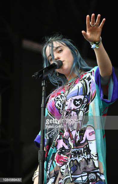 Billie Eilish performs in concert during 2018 Music Midtown at Piedmont Park on September 16 2018 in Atlanta Georgia