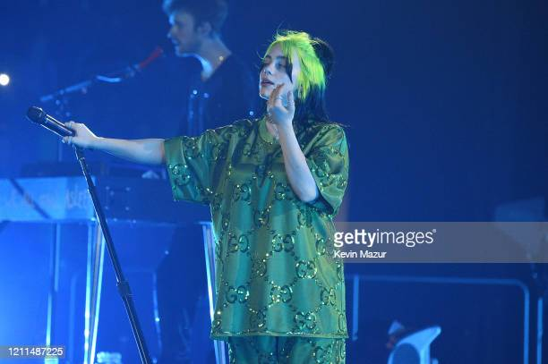 Billie Eilish performs live on stage at Billie Eilish Where Do We Go World Tour Kick Off Miami at American Airlines Arena on March 09 2020 in Miami...