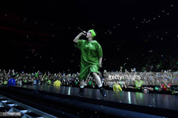 """Billie Eilish performs live on stage at Billie Eilish """"Where Do We Go?"""" World Tour Kick Off - Miami at American Airlines Arena on March 09, 2020 in..."""