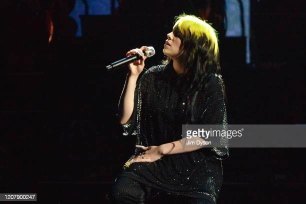 Billie Eilish performs live on stage during The BRIT Awards 2020 at The O2 Arena on February 18 2020 in London England