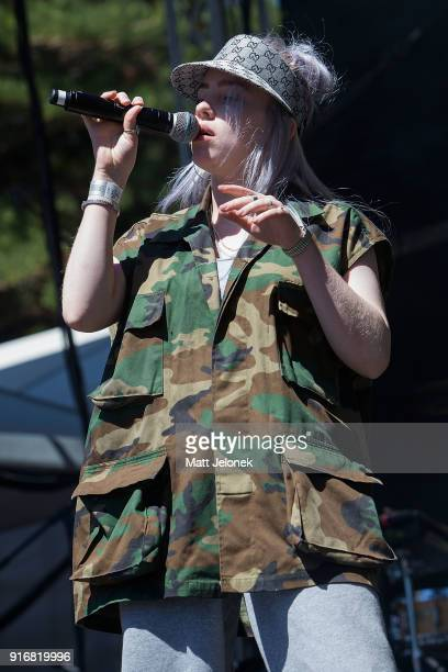Billie Eilish performs on stage at St Jerome's Laneway Festival on February 11 2018 in Fremantle Australia