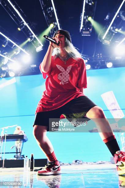 Billie Eilish performs on stage during KROQ Absolut Almost Acoustic Christmas at The Forum on December 9 2018 in Inglewood California