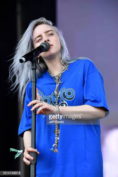 Billie Eilish performs on the Lands End Stage during the 2018 Outside Lands Music And Arts Festival at Golden Gate Park on August 10 2018 in San...