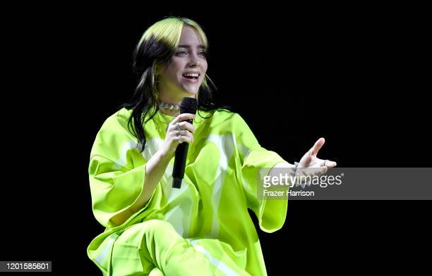 Billie Eilish performs onstage at Spotify Hosts Best New Artist Party at The Lot Studios on January 23 2020 in Los Angeles California