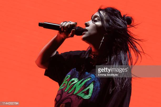 Billie Eilish performs onstage at the 2019 Coachella Valley Music and Arts Festival on April 20 2019 in Indio California