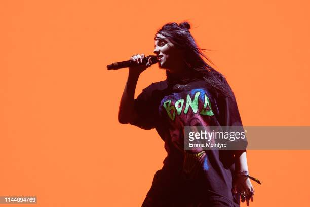 Billie Eilish performs onstage at the Coachella Valley Music and Arts Festival on April 20 2019 in Indio California