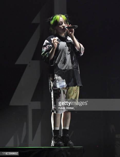 Billie Eilish performs onstage during 102.7 KIIS FM's Jingle Ball 2019 Presented by Capital One at the Forum on December 6, 2019 in Los Angeles,...