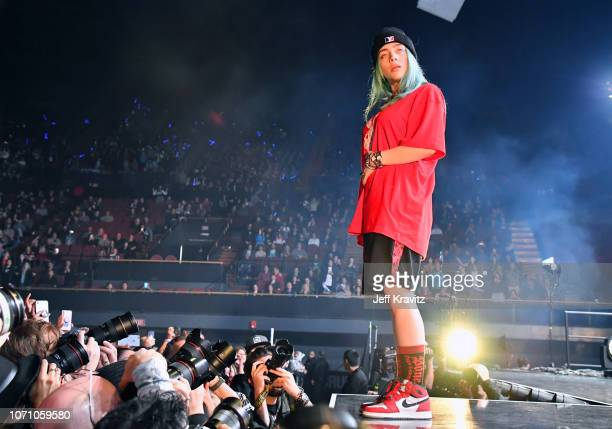 Billie Eilish performs onstage during KROQ Absolut Almost Acoustic Christmas 2018 at The Forum on December 9 2018 in Inglewood California
