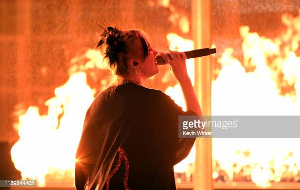 Billie Eilish performs onstage during the 2019 American Music Awards at Microsoft Theater on November 24 2019 in Los Angeles California