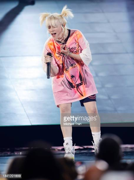 Billie Eilish performs onstage during the 2021 iHeartRadio Music Festival - Night Two held at T-Mobile Arena on September 18, 2021 in Las Vegas,...