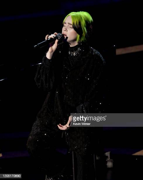 Billie Eilish performs onstage during the 92nd Annual Academy Awards at Dolby Theatre on February 09 2020 in Hollywood California