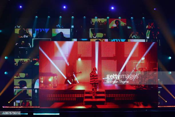 Billie Eilish performs via video link at the 2020 ARIA Awards at The Star on November 25 2020 in Sydney Australia