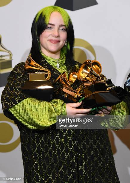 Billie Eilish poses at the 62nd Annual GRAMMY Awards at Staples Center on January 26 2020 in Los Angeles California
