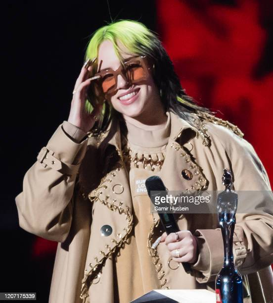 Billie Eilish presents Mastercard Album of the Year during The BRIT Awards 2020 at The O2 Arena on February 18 2020 in London England