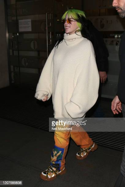 Billie Eilish seen at BBC Radio One on February 19 2020 in London England