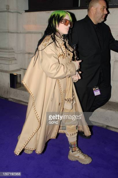 Billie Eilish seen attending the BRIT Awards 2020 Universal afterparty at the Ned hotel on February 18 2020 in London England