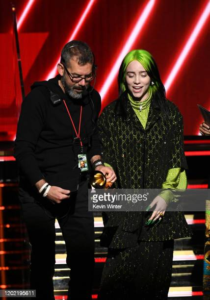 Billie Eilish walks offstage after accepting the Best New Artist award onstage during the 62nd Annual GRAMMY Awards at STAPLES Center on January 26...